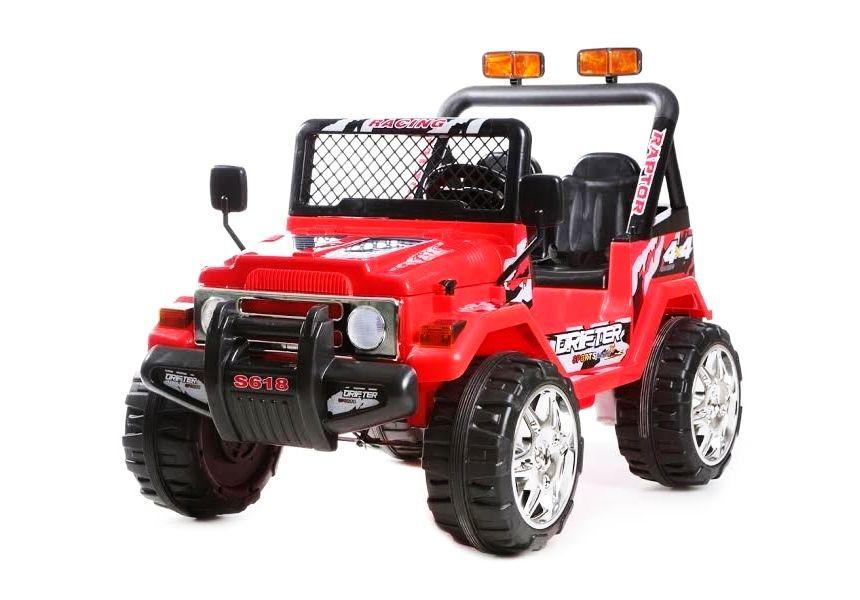 Auto elettrica a due posti BabyCar Jeep Safari rossa con telecomando parentale per bambini dai 3 anni d'età