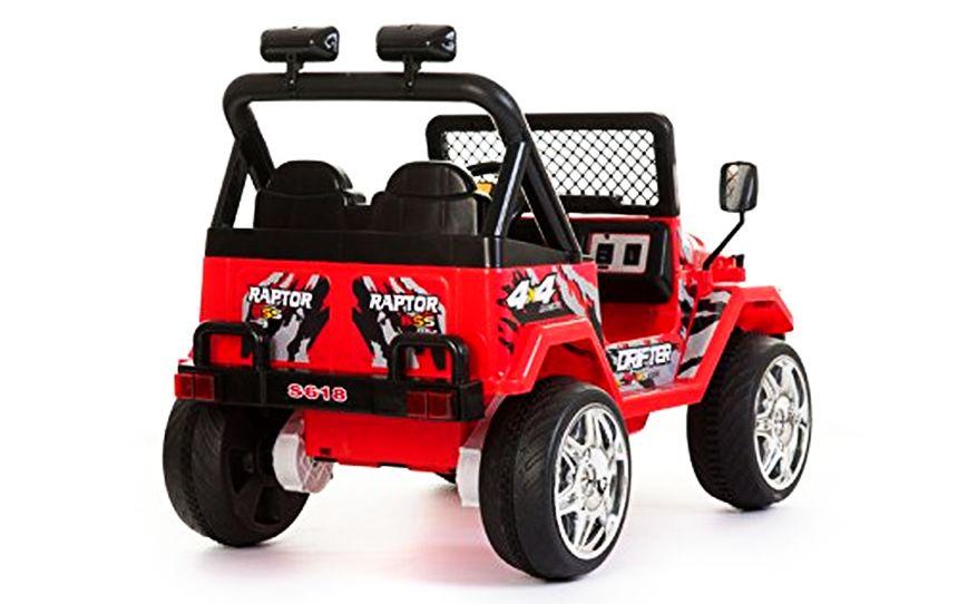 vista posteriore dell'auto elettrica BabyCar Jeep Safari, che ricordiamo essere adatta a due bambini dai 3 anni d'età
