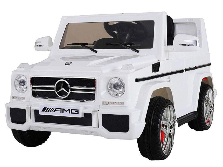 Auto elettrica ad 1 posto Mondial Toys Jeep Mercedes G65 AMG bianca con telecomando parentale per bambini dai 3 anni