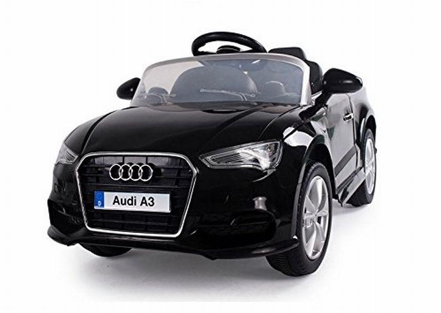 Auto elettrica BabyCar Audi A3 nera con sedile in pelle, fari a LED e telecomando parentale per bambini dai 3 anni d'età