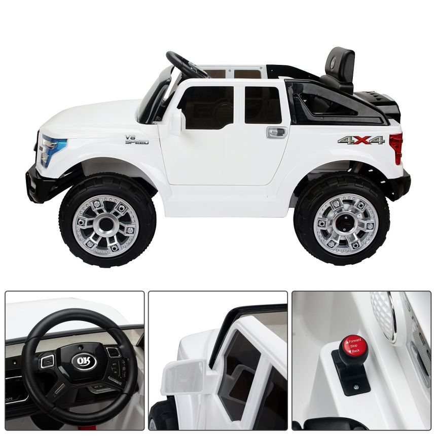 Dettagli dell'auto elettrica HomCom modello Jeep: volante, specchietti retrovisori e leva di marcia