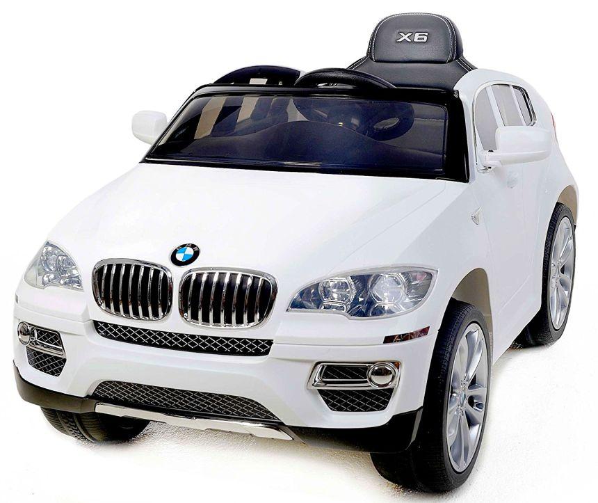 L'auto elettrica Lamas Toys BMW X6 con telecomando parentale, sedile in pelle, radio MP3, Bluetooth e fari a LED, idonea per bambini dai 3 anni d'età