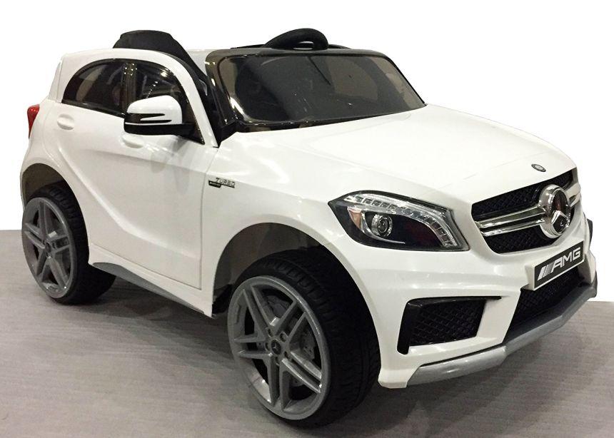 Auto elettrica Lamas Toys Mercedes A45 AMG bianca con radio MP3, Bluetooth, fari a LED e telecomando parentale per bambini dai 3 anni d'età