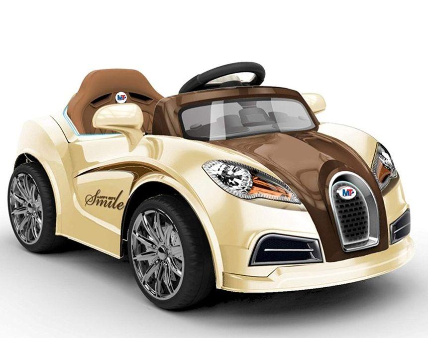 Auto elettrica Mondial Toys Smile color crema con telecomando parentale per bambini dai 3 ai 5 anni d'età