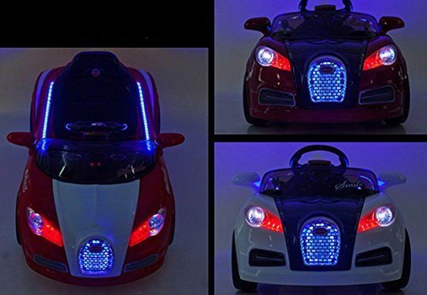 L'auto elettrica Mondial Toys Smile è corredata di potenti luci a LED, che illuminano la strada per bene anche la sera