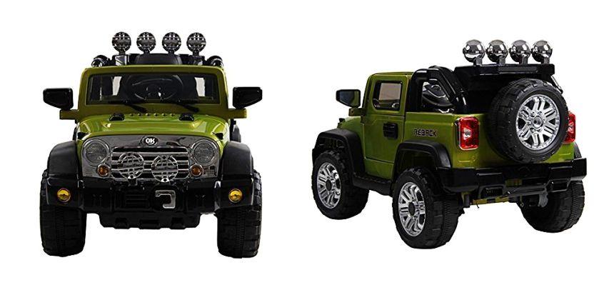 Vistra frontale e di tre quarti del fuoristrada elettrico HomCom modello Jeep militare (notare l'elevata cura dei dettagli)
