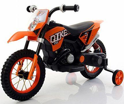 Moto Cross elettrica con rotelle BabyCar QIKE arancione per bambini dai 2 anni d'età