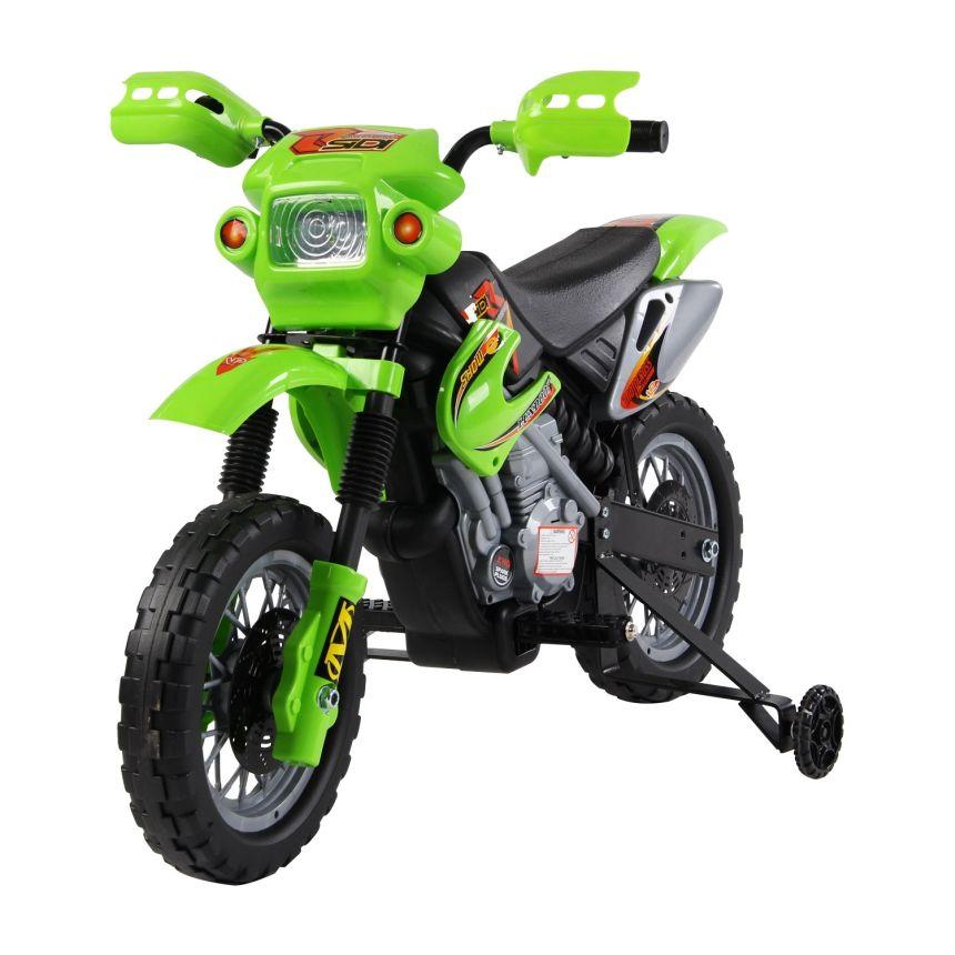 La moto cross elettrica HomCom con rotelle, di colore verde, adatta a bambini dai 2 ai 4 anni d'età
