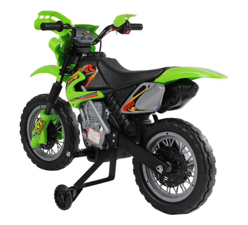 Vista posteriore della moto cross elettrica HomCom, dove è ben visibile l'aggancio robusto delle rotelline, per la massima sicurezza di vostro figlio