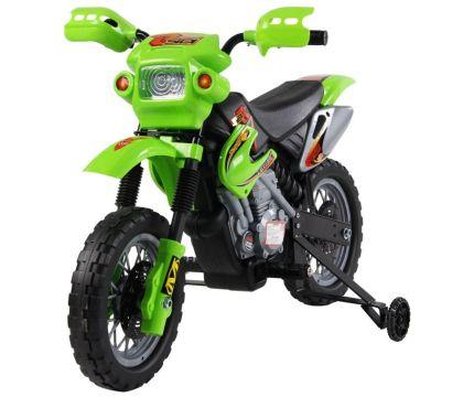 Moto Cross elettrica HomCom verde con rotelle per bambini dai 2 ai 4 anni d'età