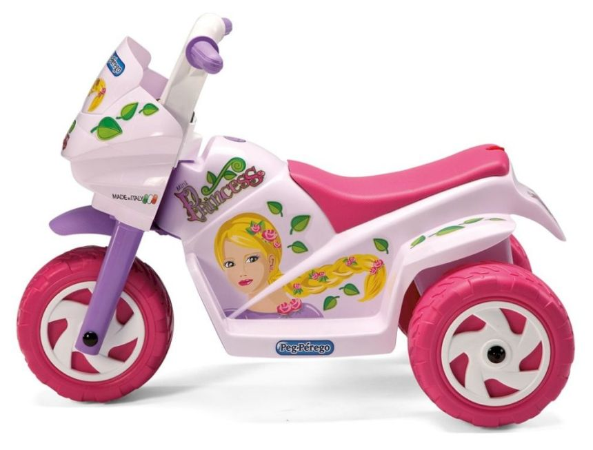 Vista laterale della moto elettrica a 3 ruote Peg Pérego Mini Princess