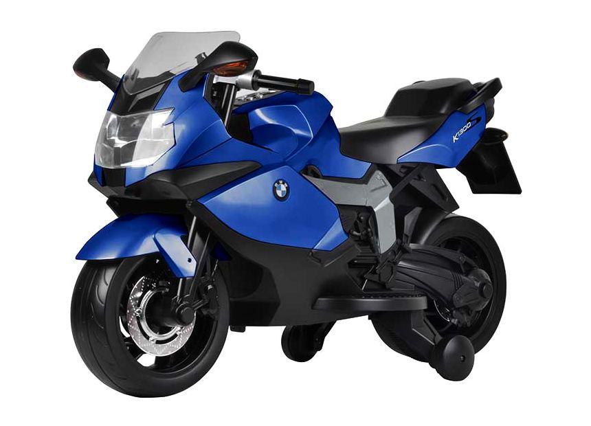 Moto elettrica con rotelle BabyCar BMW K1300S blu con luci e suoni per bambini dai 3 anni d'età