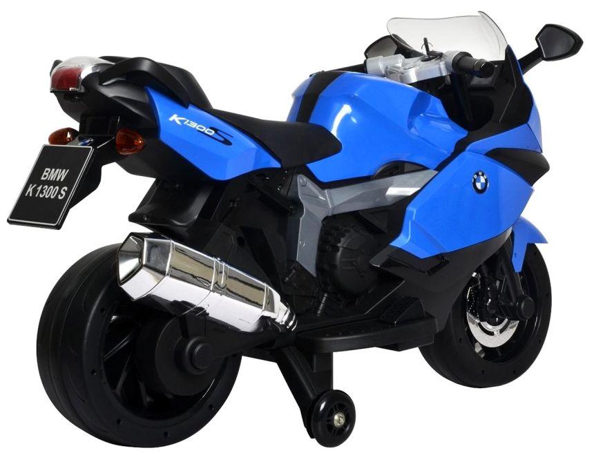 Vista laterale della moto elettrica BabyCar BMW K1300S, adatta a bambini dai 3 anni d'età