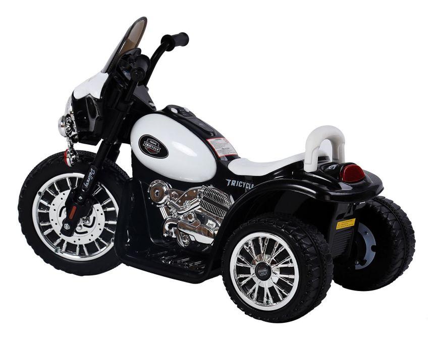 Vista di tre quarti della moto triciclo HomCom della polizia, che garantirà a vostro figlio ore di divertimento all'aperto
