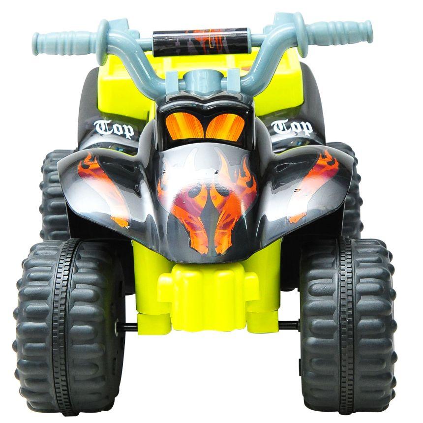 Vista frontale del quad elettrico HomCom giallo e nero a 4 ruote, che ricordiamo essere adatto a bambini dai 2 ai 4 anni d'età
