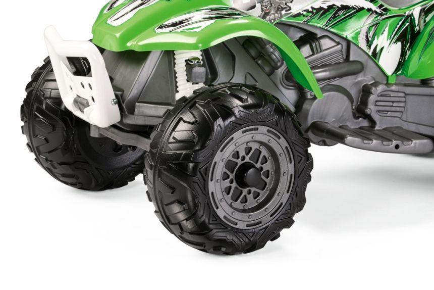 Le ruote del Quad elettrico Peg Pérego Corral Bearcat sono adatte anche a terreni accidentati o sconnessi